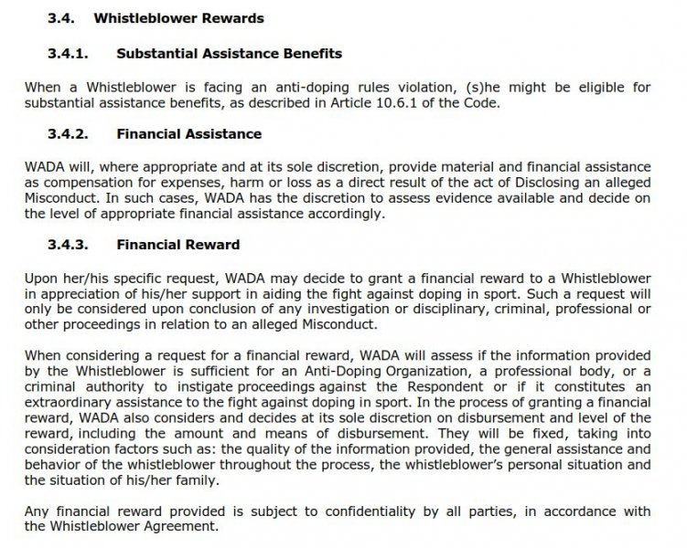 WADA Whistleblower Agreement stipulates financial rewards for snitches.
