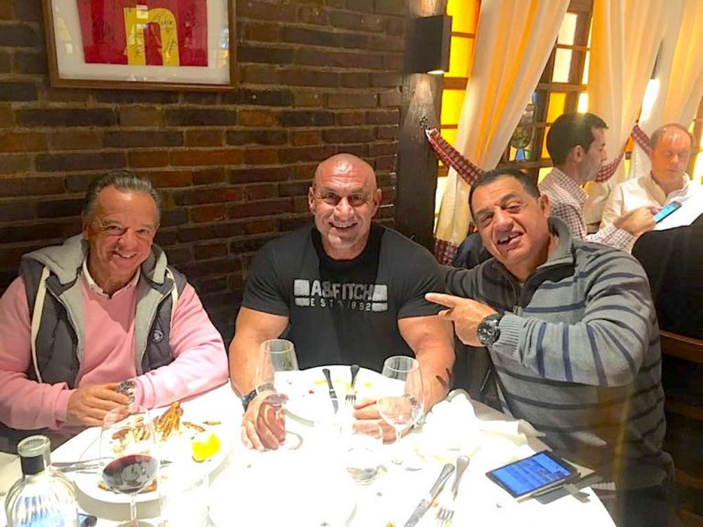 IFBB President Rafael Santonja having dinner with his Greek friends -- GBBF president Jordan Leventelis and bodybuilding contest promoter Anastasios Koigkionis