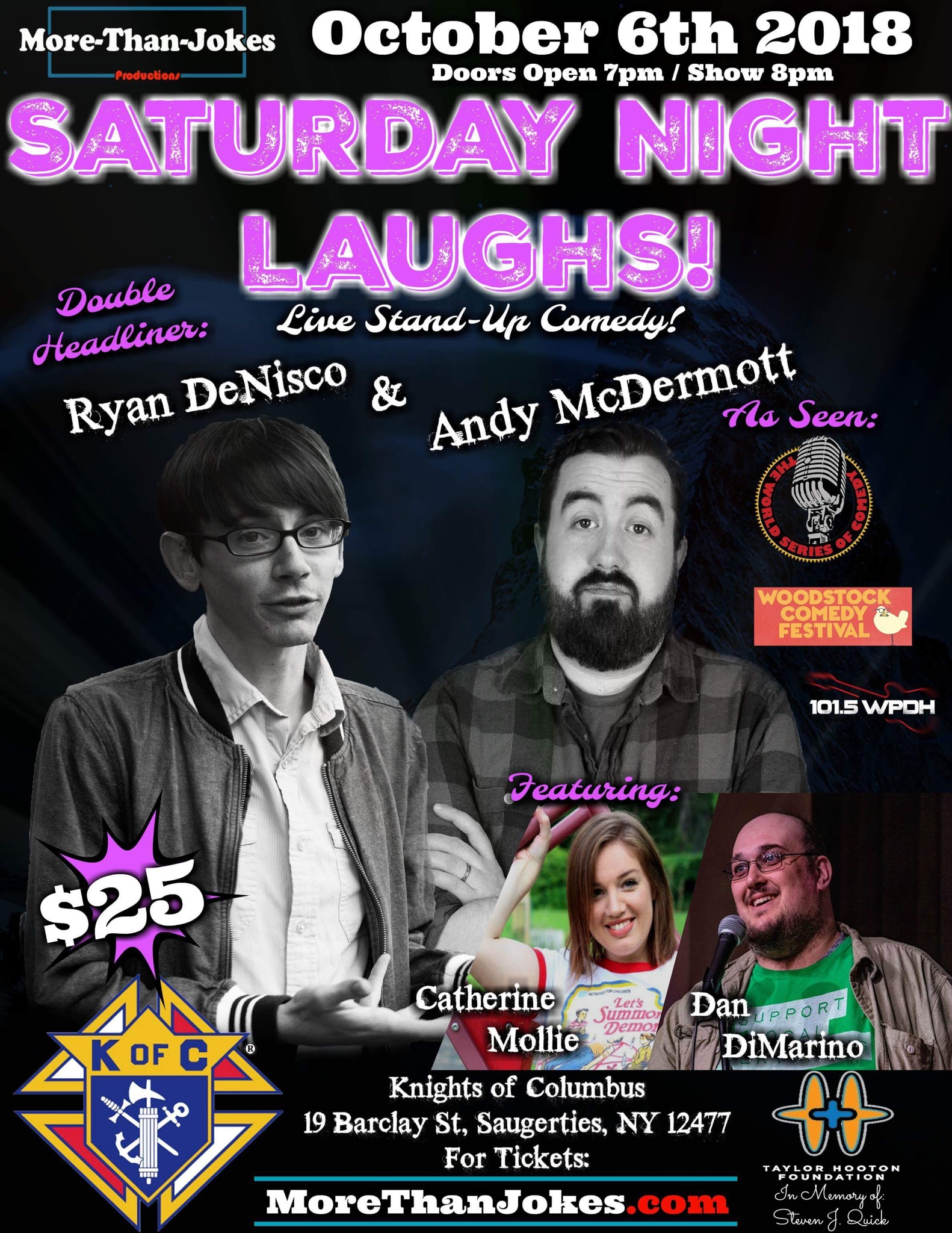 Quick organized a stand-up comedy event featuring comedians Ryan DeNisco and Andy McDermott to raise money for the Taylor Hooton Foundation.